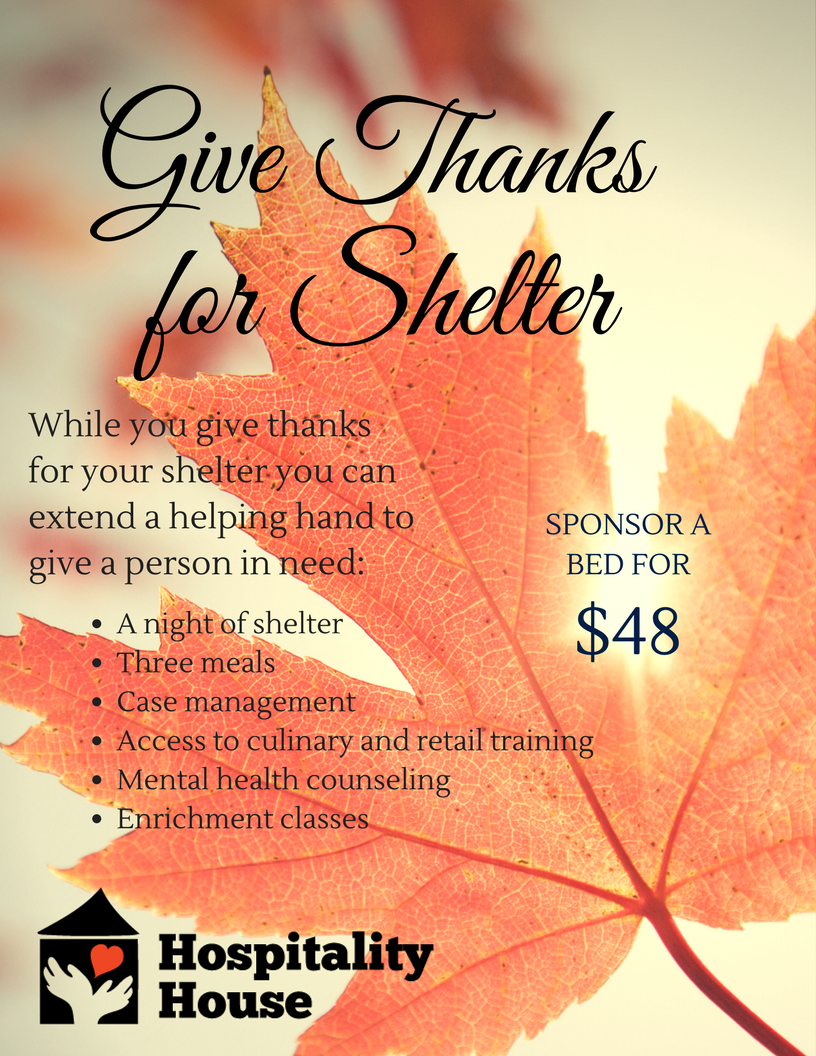 Thanksgiving Gift of Shelter